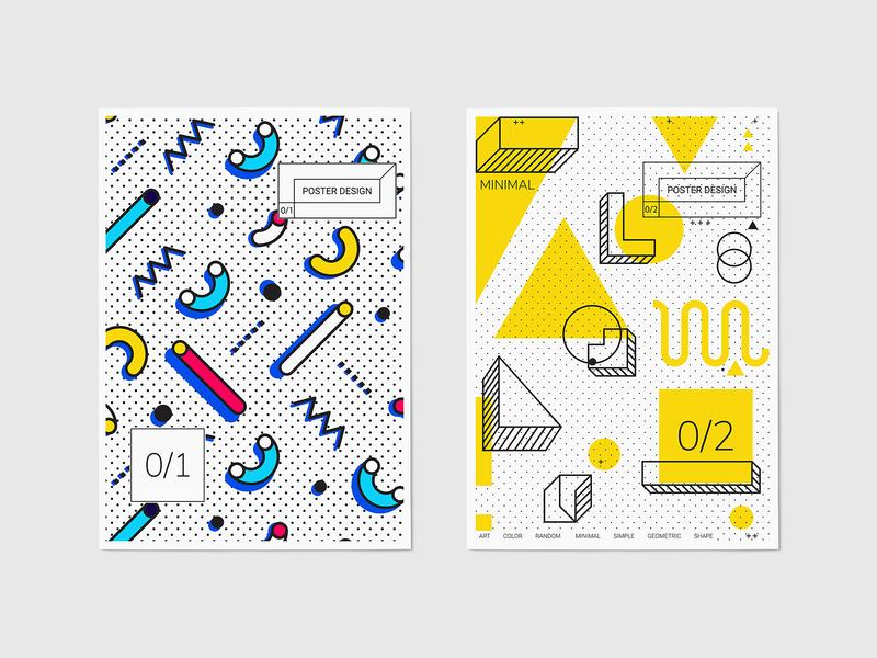Neo Memphis Megaset download template poster design pixelbuddha neo memphis graphic vectors elements geometry