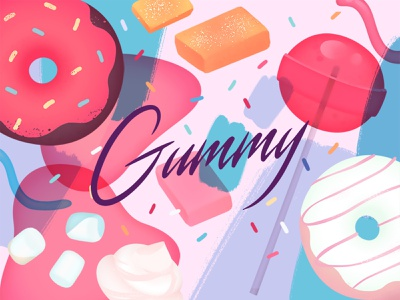 Freebie: Gummy Graphic Elements patterns lollipop set graphic art stock illustration donut elements sweet