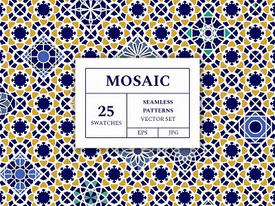 Freebie: Mosaic Patterns Vector Set geometric colorful boho summer moroccan seamless vector mosaic patterns freebie pixelbuddha