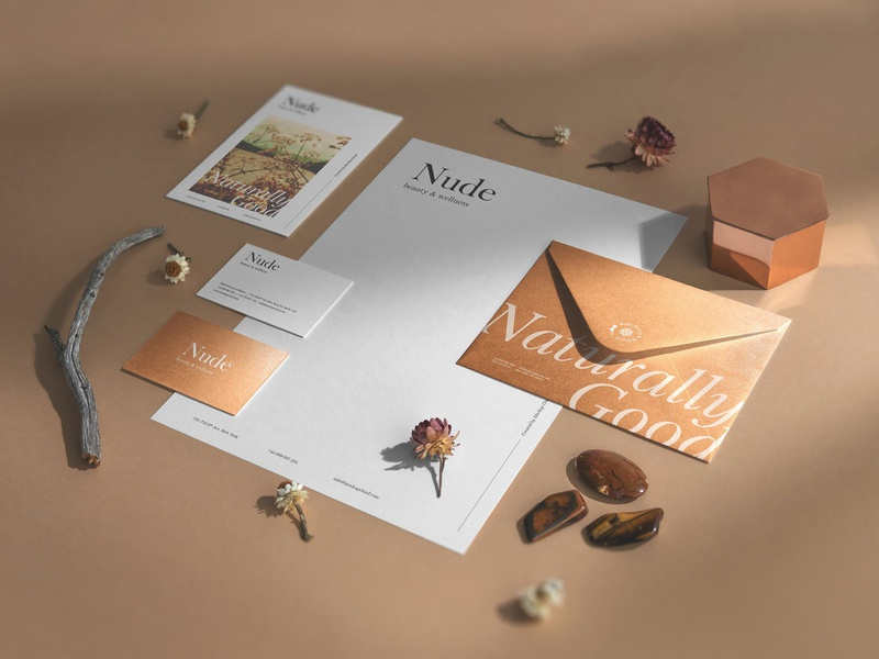 Nude Branding Mockups branding mockup mockups business card canvas paper print stationery psd download envelope nature logo