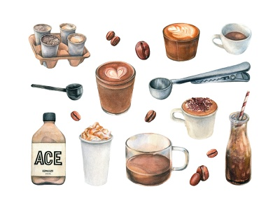 Coffee Shop Watercolors Collection clipart mug drink cafe elements drawing watercolor bundle shop set illustration watercolor coffee download