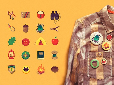 Wes Anderson Graphics Kit plus wes anderson forest acorns scout patches twigs bugs background illustration pastel graphic download