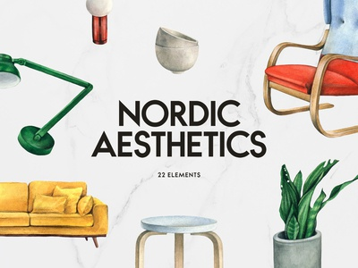 Scandi Interior Watercolor Set