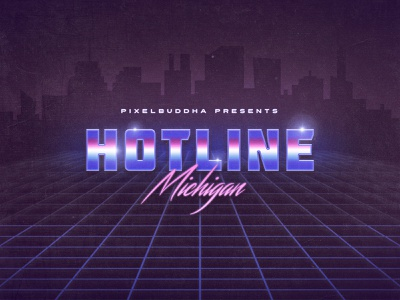 Hotline Michigan Text Effects template templates effect text style vintage retro 80s download