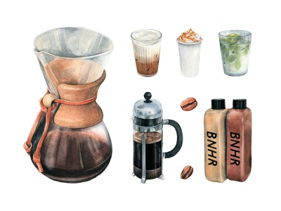 Coffee Watercolors Collection elements stickers pack popular latte drawing cappuccino pixelbuddha watercolor coffee download