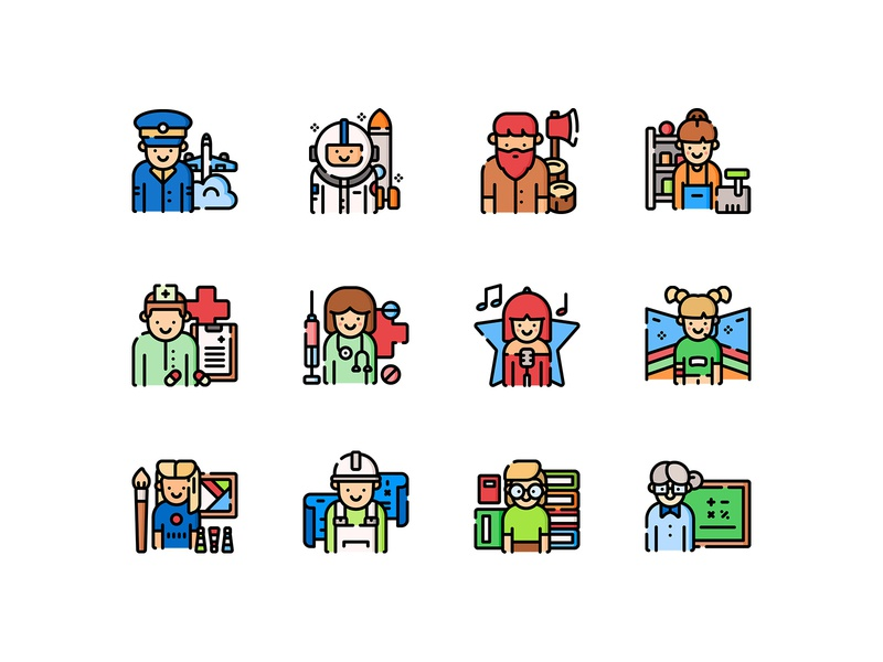 Freebie: Jobs and Professions Icons Set