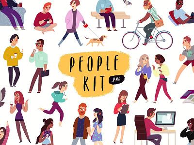 People Illustrations Kit illustrations character design people girl man illustraion working workplace website download