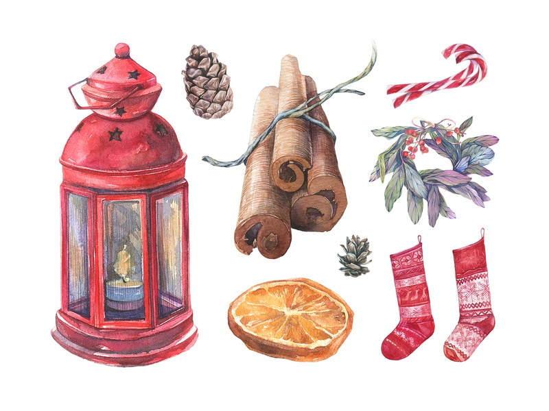 Licorice Christmas Watercolor Kit christmas watercolor illustration decoration winter new year clipart clip art licorice wreath holiday images xmas merry download