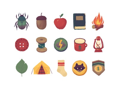 Wes Anderson Graphics Kit graphic pastel illustration background bugs twigs patches scout acorns forest wes anderson plus download