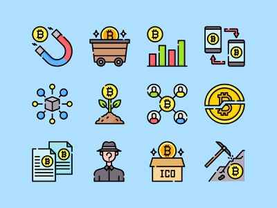 Freebie: Blockchain Vector Icons download freebie free png svg bitcoin colorful flat icons vector blockchain cryptocurrency