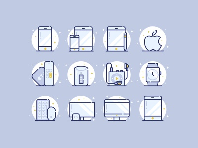 Apple Devices Icons svg shapes design line flat vector icons apple iphone imac iwatch devices ipod tv ipad download