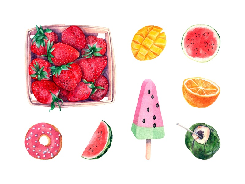 Forever Summer Watercolor Set fruits collection clipart vespa icecream summer graphic illustration watercolor pixelbuddha download