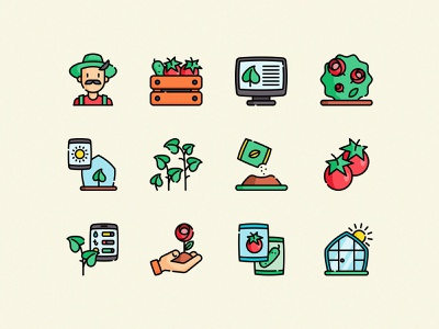 Freebie: Greenhouse Vector Icons vector iconset farmer sprout seed gardening nature ecology eco icons free freebie download pixelbuddha