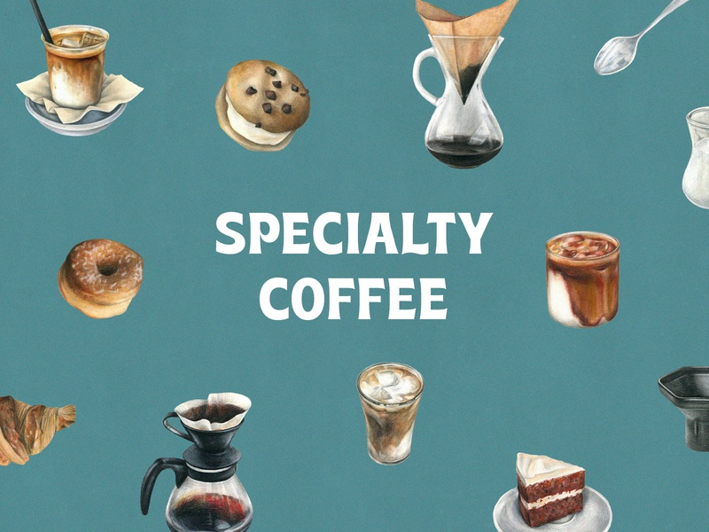Specialty Coffee Watercolor Set eps png images vector barista cappuccino latte milk handpainted illustration watercolor coffee clipart graphic pixelbuddha