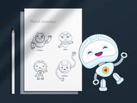 Say Hi! mascot hello bot golem droid best vector logo clean app flat ui character illustration robot