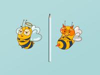 Bee's Alter Egos mascot mascotlogo bee ui best clean app vector character logo illustration