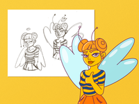 Wasp Girl yes girl brand sketch butterfly bee logo ui clean character flat vector illustration