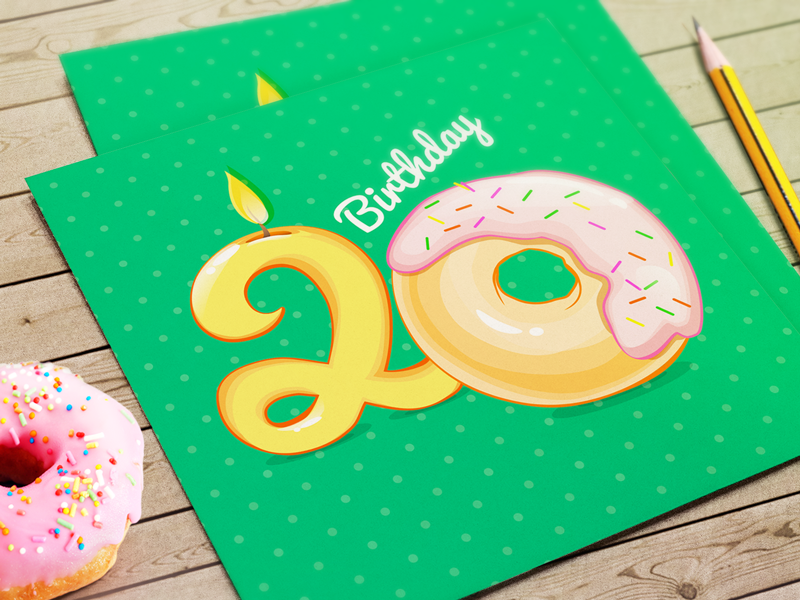 Birthday Greeting Card pencil ios app card birthday best donut candle green day wishes ai