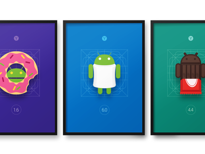 Android Posters Set place work office marshmallow kitkat donat poster android
