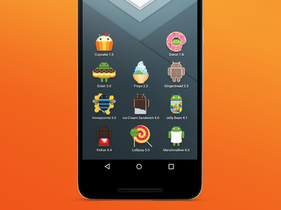 Icons With Android Character screen icon android poster donat kitkat marshmallow office work place