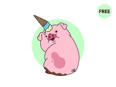 Waddles  unicorn freebie free illustration summer green pig pink ice cream fun art waddles gravity falls