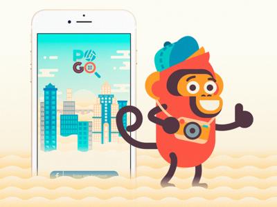 Pogo The Monkey best fun branding vector app flat ux ui character design illustration