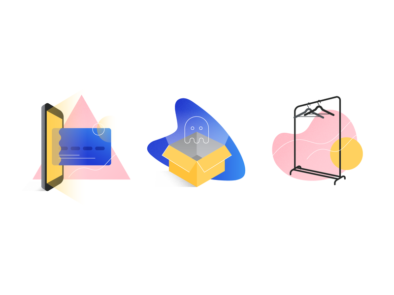 Illustrations for Empty States box generate card wear unusual artistic modern best illustration vector flat app icon ui