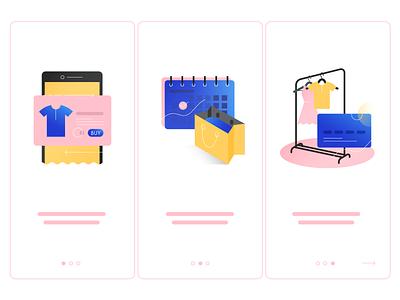 Illustration for Onboarding fashion mobile card bag calendar courier shopping online onboarding character best vector illustration ui app