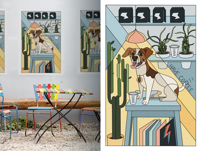 Poster for Coffee Place character vector cafe interior lamp colors pastel style lines poster coffee dog best illustration