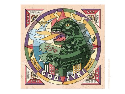 🦖 Godzuki 🦖  Label for Magic Drinks ⭐️ logo branding design digital world identity brand lable poster mosaic vector kombucha godzilla illustration