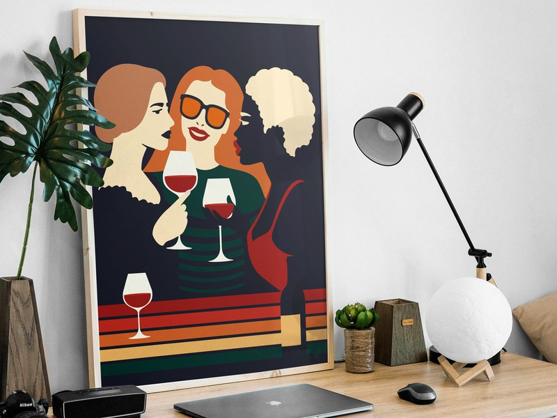 Girls, Wine and Negative Space lips girl wine dark best design character vector flat negative-space negative space illustration