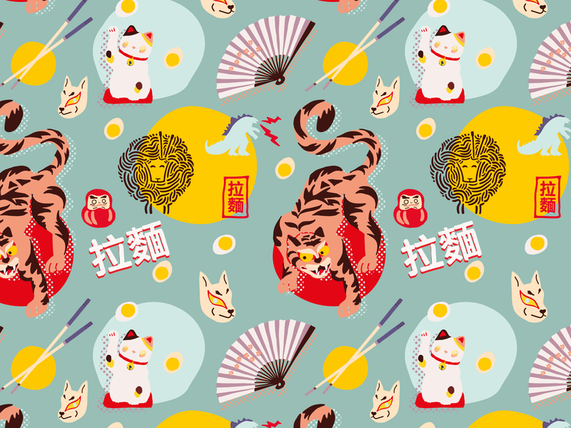 Asian Mood Part 2 egg sheep wolf godzilla cat tiger asia textile textile pattern pattern design pattern art pattern seamless vector illustration