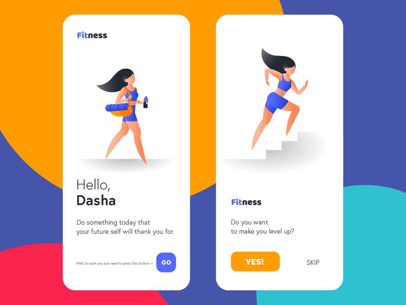 Simple Illustration for Fitness app easy clean run vector bright girl character illustration fitness app fitness sport girl