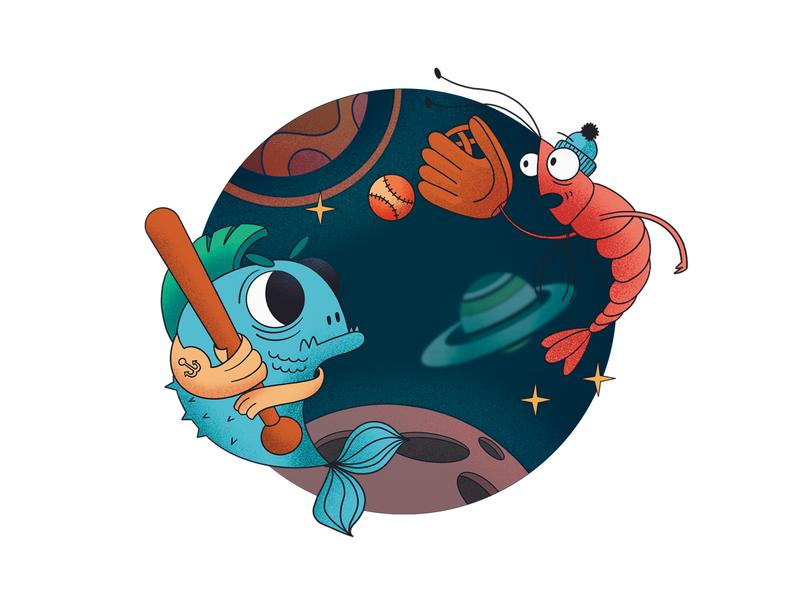 ⚾️ Space Baseball star fitness space game sport baseball shrimp fish design branding clean flat vector best character illustration