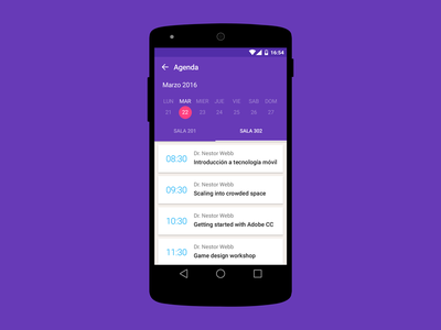 Schedule Event App for Android material event design peru android mobile