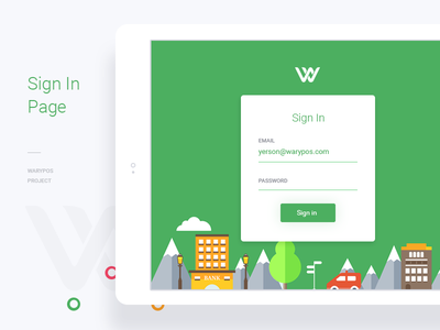 Sign In page | Warypos Project brand pos mobile web ux ui green warypos login