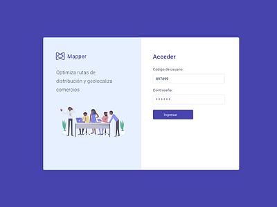 Mapper Login desktop design purple login web ui mapper