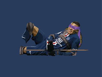 Digital Illustration striker adobe illustrator illustration vector football psg kylian mbappe paris ninja turtles
