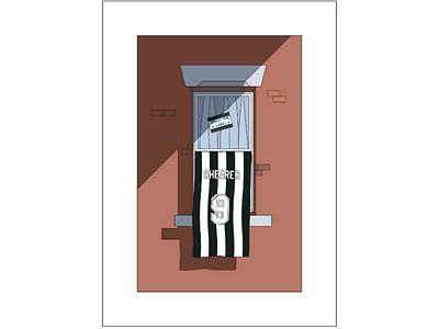 Digital Illustration clean minimal strokes stripes newcastle football flat design vector illustration