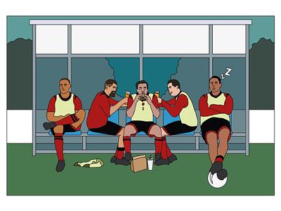 Digital Illustration substitution adobe illustrator sport football minimal flat design vector illustration