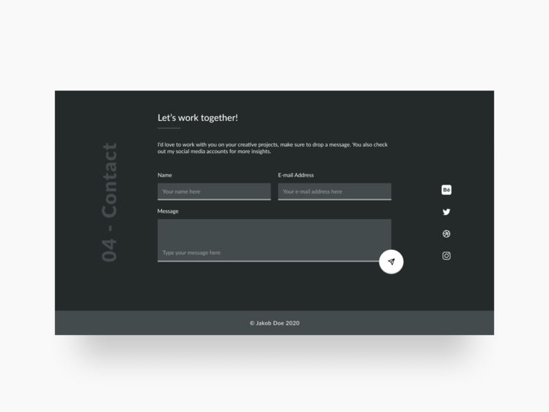 Website Contact Form dark theme footer contact form