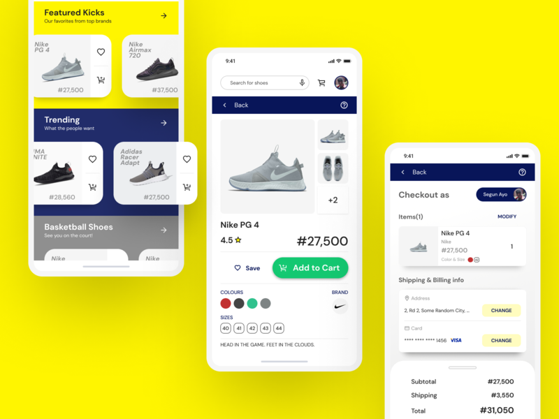 Sneaker E-Commerce App yellow homepage cart sneakers ecommerce