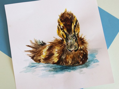 Duckling Illustration craft floating swimming water feather gouache branding paper watercolour painting duck logo duckling wild animal wildlife watercolor creativity nature photography illustration graphicdesign