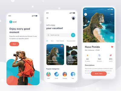 Travel App app traveling travel agency mobile clean travel app travel ui design
