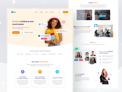 Classroom Platform classroom education course elearning landing page education website web ui design ux ui design