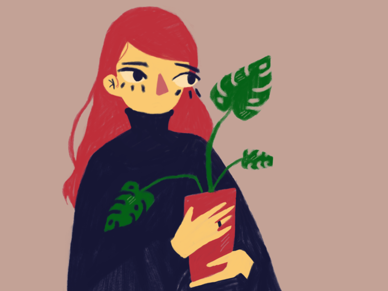Me and plant digitalart monstera character vector plants characterdesign illustration