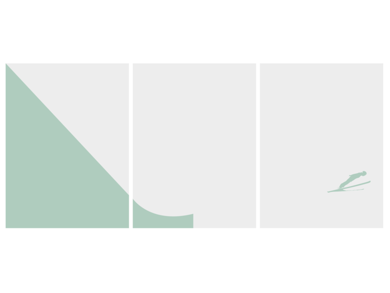 Ski Jump Triptych minimal flat art illustrator vector icon design illustration ui triptych jump ski