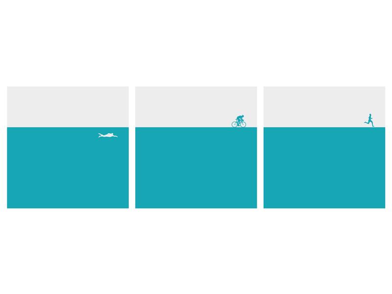Triathlon Triptych minimal flat art illustrator vector icon ui illustration design painting triptych triathlon