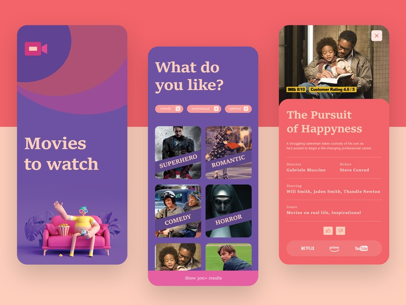 UI Design for a movie suggestion app