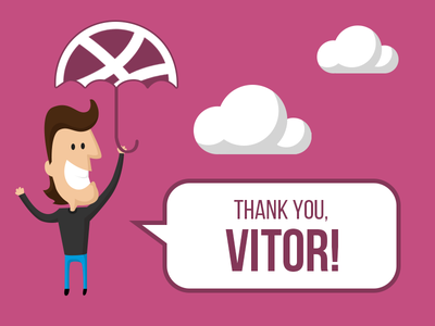 Thanks, Vitor! thanks thank you invite dribbble clouds welcome